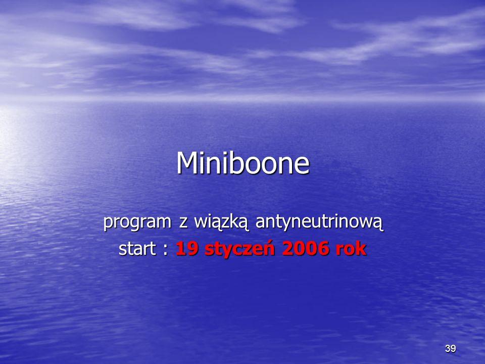 39 Miniboone program z wiązką antyneutrinową start : 19 styczeń 2006 rok