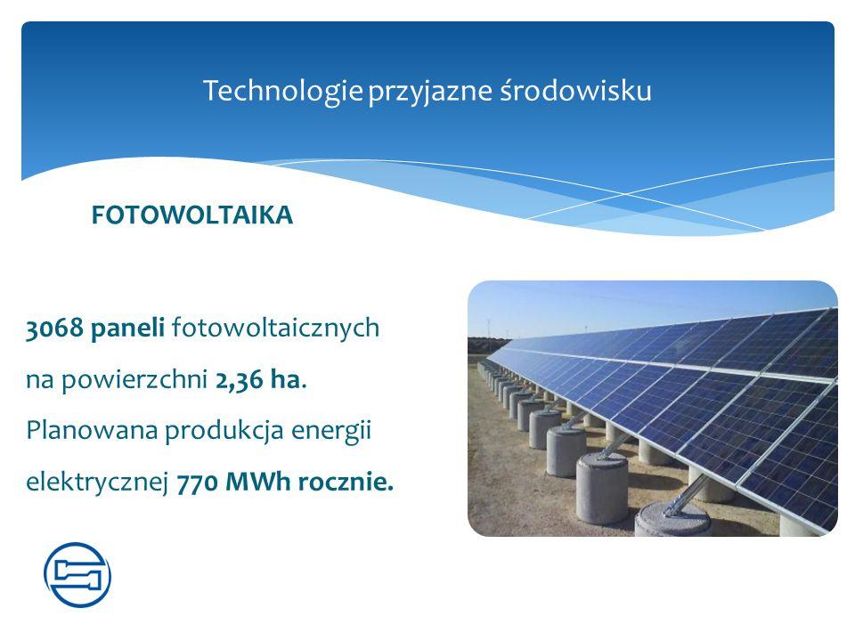 Technologie przyjazne środowisku 3068 paneli fotowoltaicznych na powierzchni 2,36 ha. Planowana produkcja energii elektrycznej 770 MWh rocznie. FOTOWO