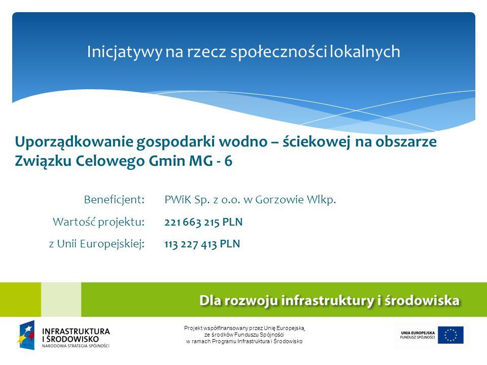 Inicjatywy na rzecz społeczności lokalnych Projekt współfinansowany przez Unię Europejską ze środków Funduszu Spójności w ramach Programu Infrastruktu
