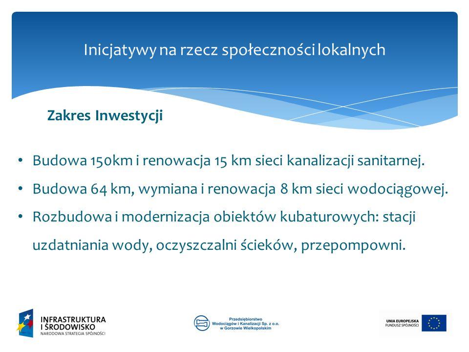 Inicjatywy na rzecz społeczności lokalnych Budowa 150km i renowacja 15 km sieci kanalizacji sanitarnej. Budowa 64 km, wymiana i renowacja 8 km sieci w