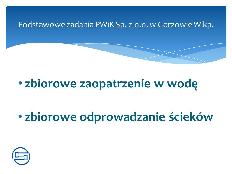 zbiorowe zaopatrzenie w wodę zbiorowe odprowadzanie ścieków Podstawowe zadania PWiK Sp. z o.o. w Gorzowie Wlkp.