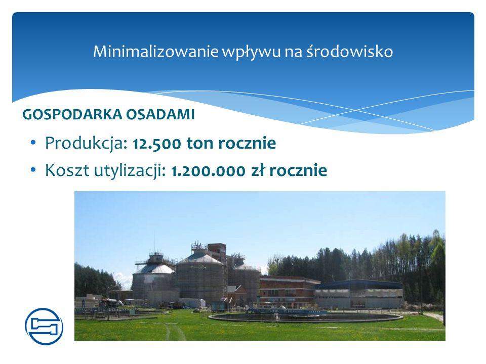 Minimalizowanie wpływu na środowisko GOSPODARKA OSADAMI Produkcja: 12.500 ton rocznie Koszt utylizacji: 1.200.000 zł rocznie
