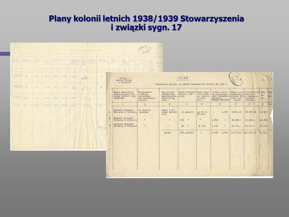 Plany kolonii letnich 1938/1939 Stowarzyszenia i związki sygn. 17