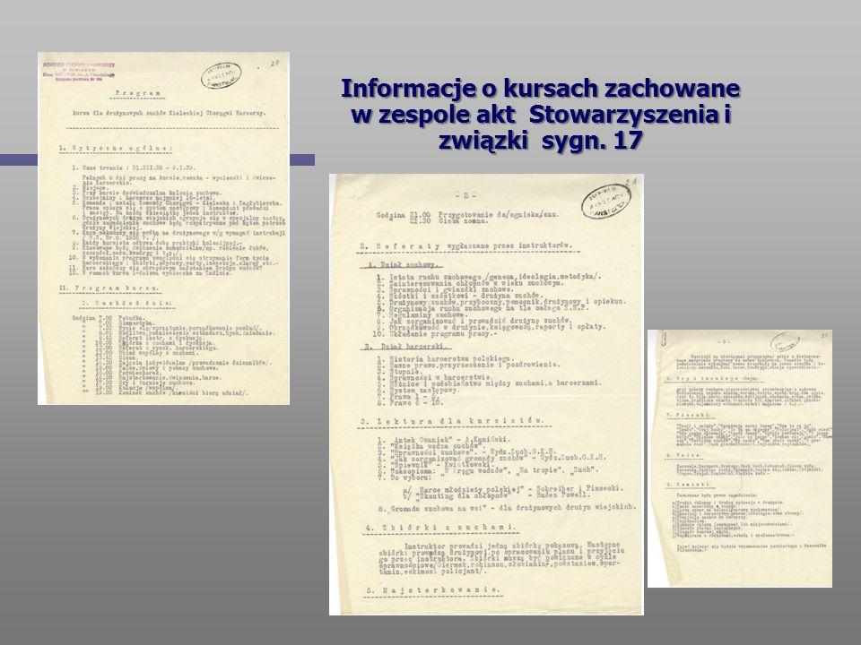 Informacje o kursach zachowane w zespole akt Stowarzyszenia i związki sygn. 17