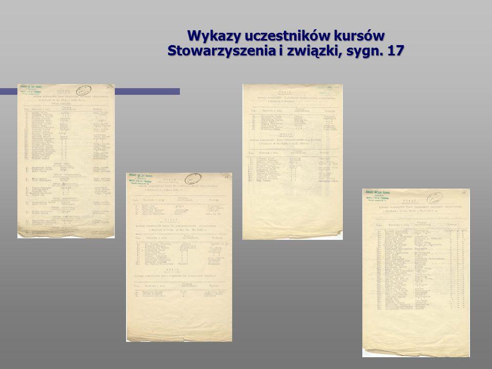 Wykazy uczestników kursów Stowarzyszenia i związki, sygn. 17
