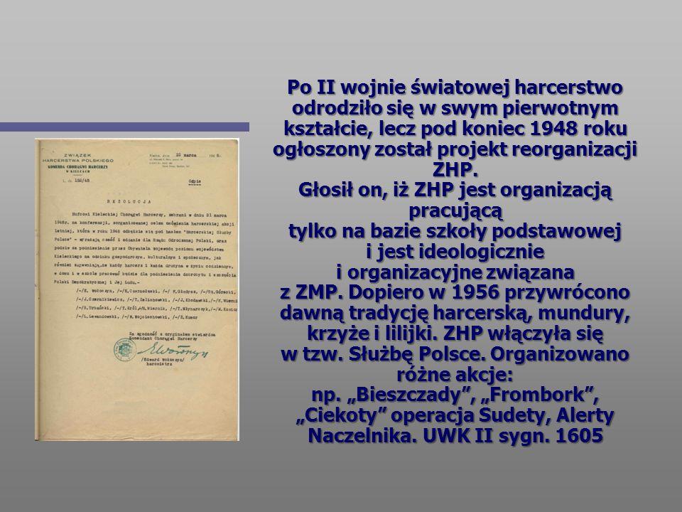 Po II wojnie światowej harcerstwo odrodziło się w swym pierwotnym kształcie, lecz pod koniec 1948 roku ogłoszony został projekt reorganizacji ZHP. Gło