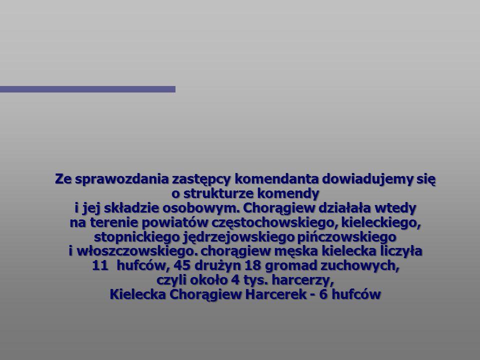 Ze sprawozdania zastępcy komendanta dowiadujemy się o strukturze komendy i jej składzie osobowym. Chorągiew działała wtedy na terenie powiatów częstoc