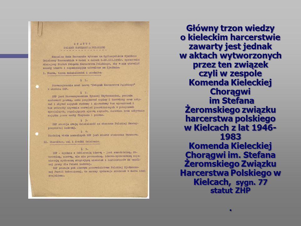 Główny trzon wiedzy o kieleckim harcerstwie zawarty jest jednak w aktach wytworzonych przez ten związek czyli w zespole Komenda Kieleckiej Chorągwi im