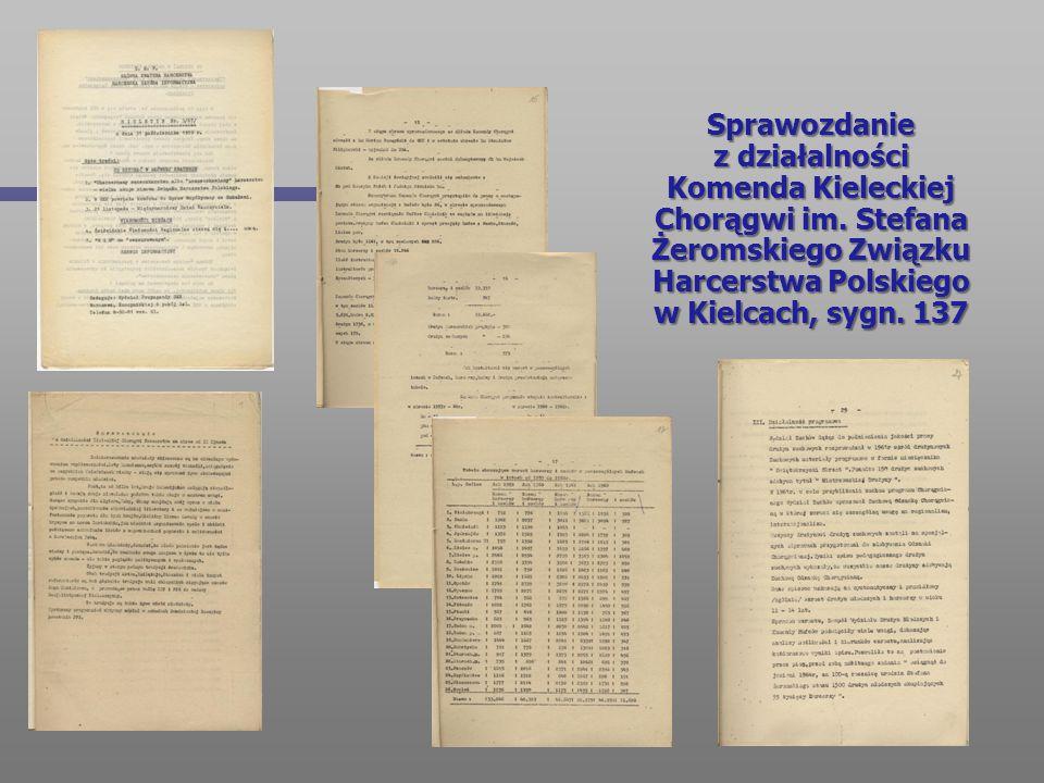 Sprawozdanie z działalności Komenda Kieleckiej Chorągwi im. Stefana Żeromskiego Związku Harcerstwa Polskiego w Kielcach, sygn. 137