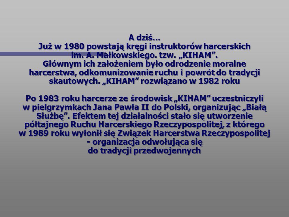 """A dziś… Już w 1980 powstają kręgi instruktorów harcerskich im. A. Małkowskiego. tzw. """"KIHAM"""". Głównym ich założeniem było odrodzenie moralne harcerstw"""