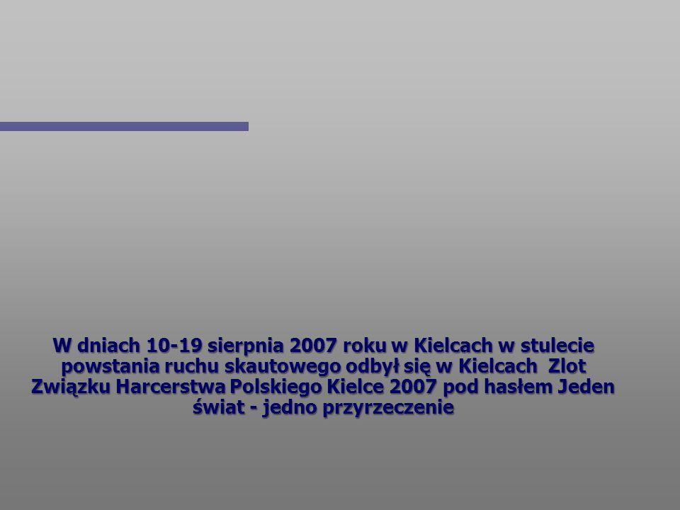 W dniach 10-19 sierpnia 2007 roku w Kielcach w stulecie powstania ruchu skautowego odbył się w Kielcach Zlot Związku Harcerstwa Polskiego Kielce 2007
