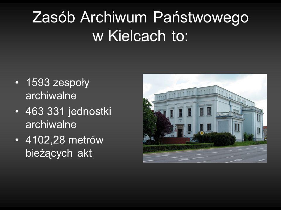 Zasób Archiwum Państwowego w Kielcach to: 1593 zespoły archiwalne 463 331 jednostki archiwalne 4102,28 metrów bieżących akt