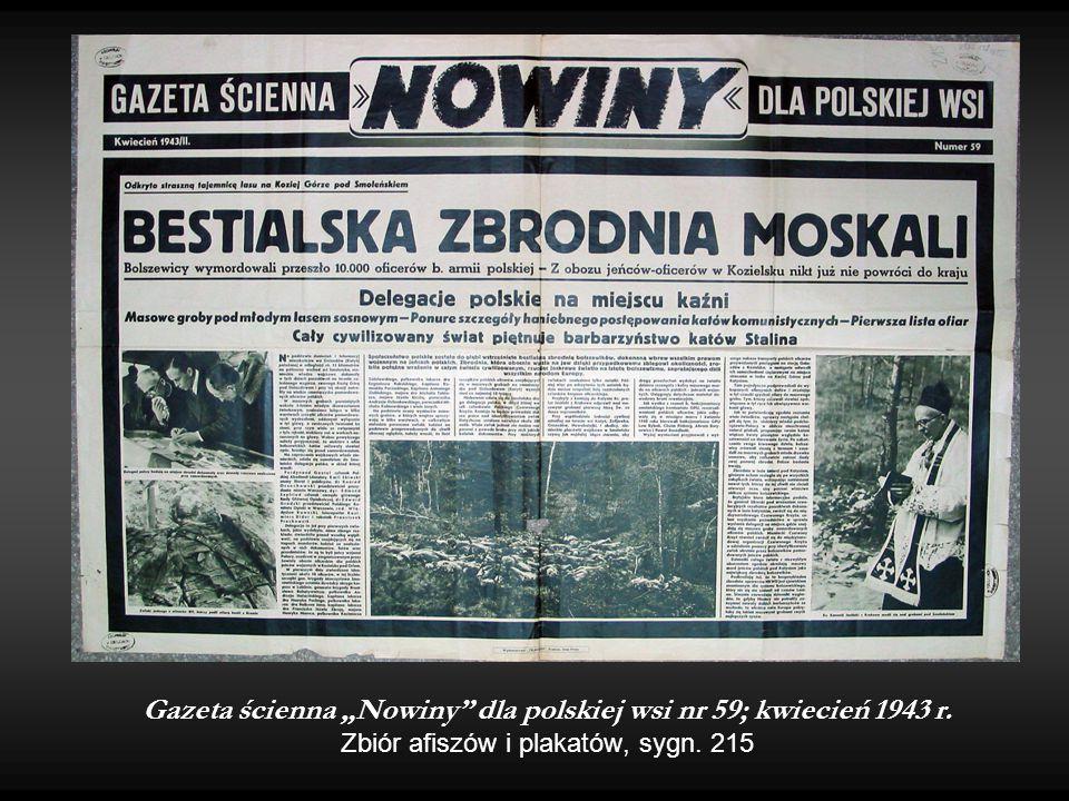 """Gazeta ścienna """"Nowiny"""" dla polskiej wsi nr 59; kwiecień 1943 r. Zbiór afiszów i plakatów, sygn. 215"""