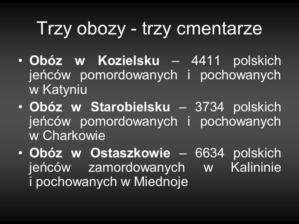 Trzy obozy - trzy cmentarze Obóz w Kozielsku – 4411 polskich jeńców pomordowanych i pochowanych w Katyniu Obóz w Starobielsku – 3734 polskich jeńców p