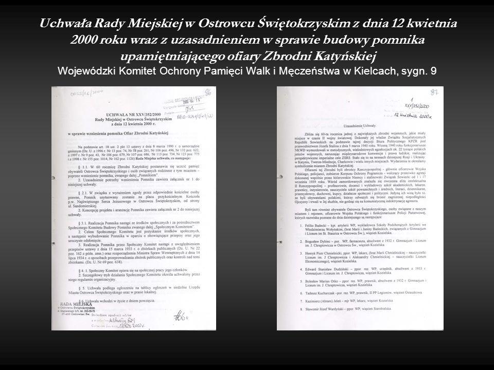 Uchwała Rady Miejskiej w Ostrowcu Świętokrzyskim z dnia 12 kwietnia 2000 roku wraz z uzasadnieniem w sprawie budowy pomnika upamiętniającego ofiary Zb