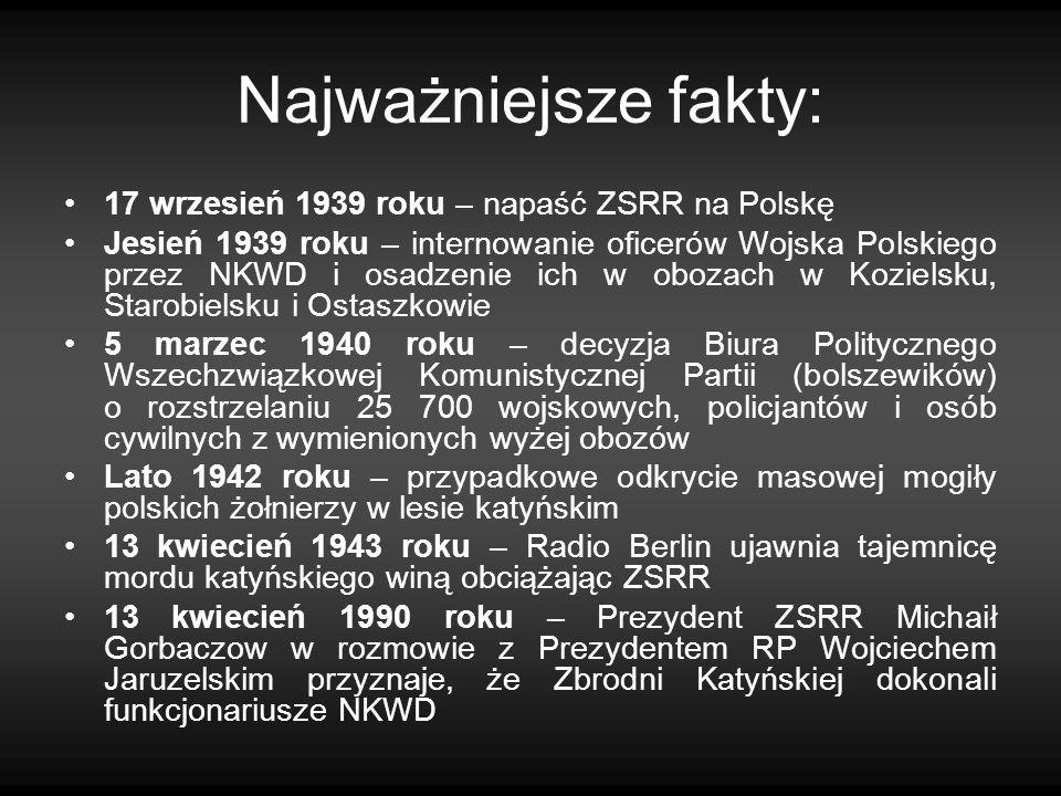 Najważniejsze fakty: 17 wrzesień 1939 roku – napaść ZSRR na Polskę Jesień 1939 roku – internowanie oficerów Wojska Polskiego przez NKWD i osadzenie ic