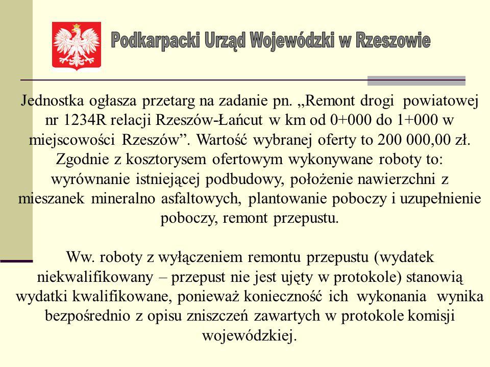 Przykład Poniższa tabela zawiera opis zniszczeń na drodze gminnej LpNr drogi Nazwa odcinka drogi Miejsco- wość Uszkodzony odcinek drogi Uszkodzony prz