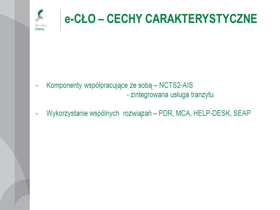 e-CŁO – CECHY CARAKTERYSTYCZNE -Komponenty współpracujące ze sobą – NCTS2-AIS - zintegrowana usługa tranzytu -Wykorzystanie wspólnych rozwiązań – PDR, MCA, HELP-DESK, SEAP