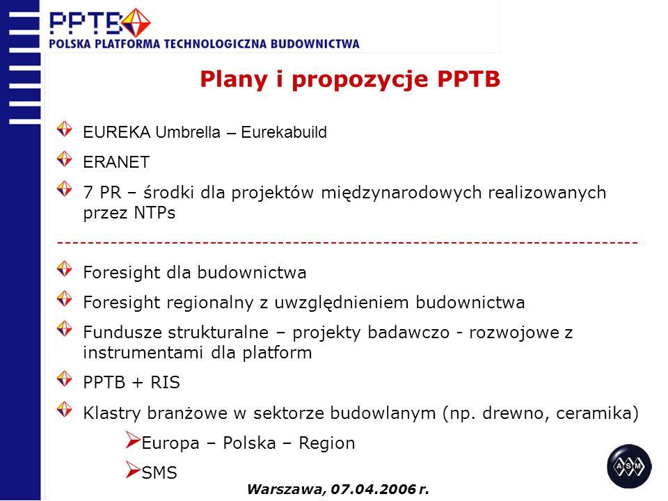 Plany i propozycje PPTB EUREKA Umbrella – Eurekabuild ERANET 7 PR – środki dla projektów międzynarodowych realizowanych przez NTPs -------------------