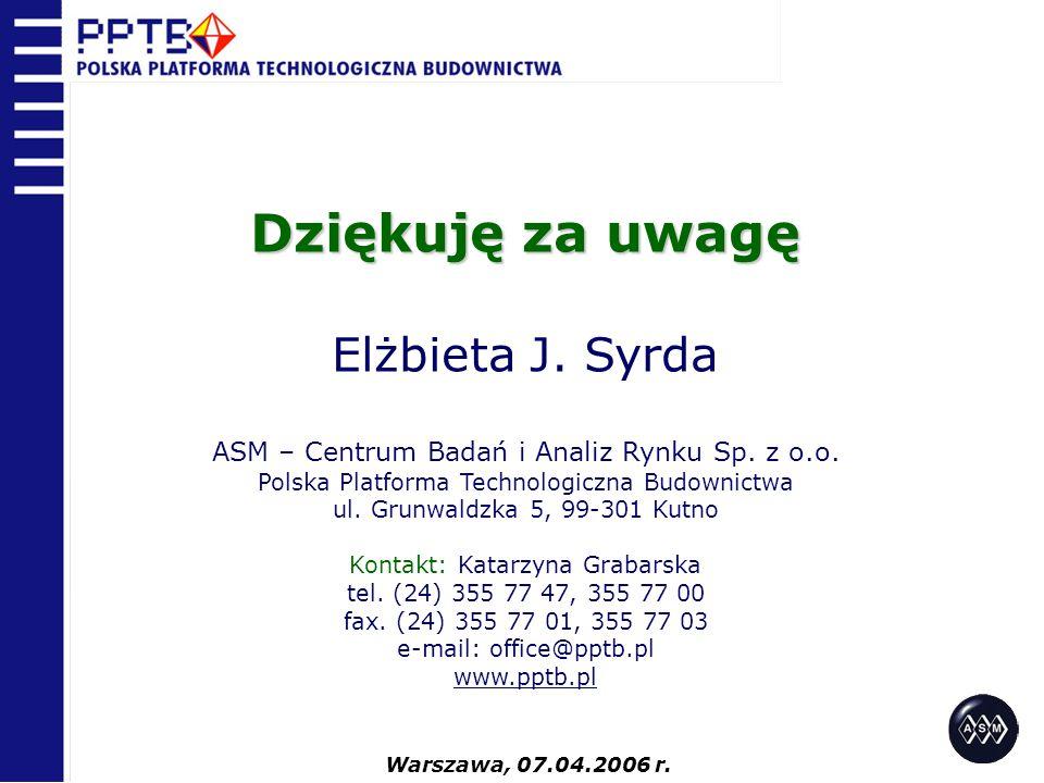 Dziękuję za uwagę Elżbieta J. Syrda ASM – Centrum Badań i Analiz Rynku Sp. z o.o. Polska Platforma Technologiczna Budownictwa ul. Grunwaldzka 5, 99-30