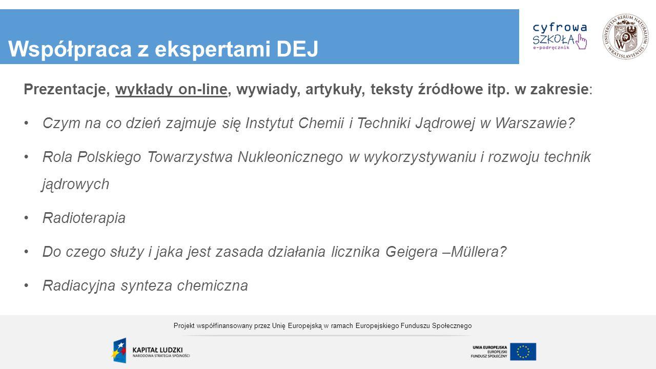 Współpraca z ekspertami DEJ Prezentacje, wykłady on-line, wywiady, artykuły, teksty źródłowe itp. w zakresie: Czym na co dzień zajmuje się Instytut Ch
