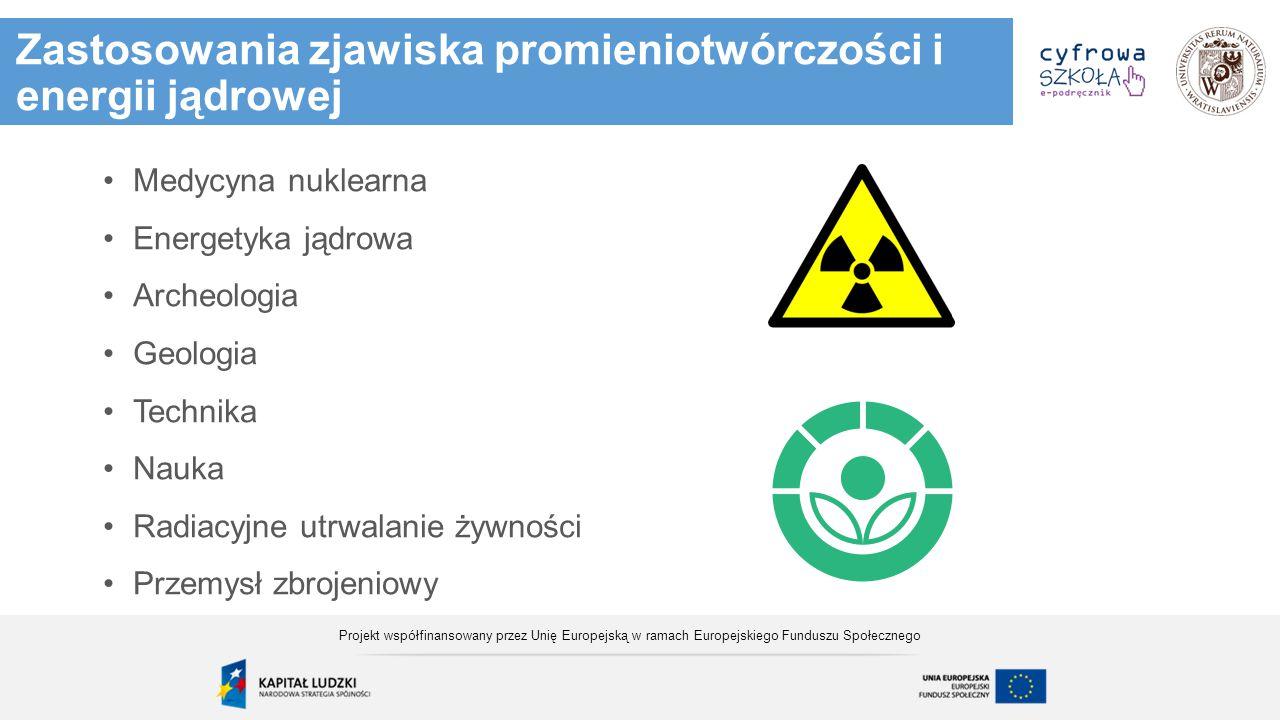 Zastosowania zjawiska promieniotwórczości i energii jądrowej Medycyna nuklearna Energetyka jądrowa Archeologia Geologia Technika Nauka Radiacyjne utrw