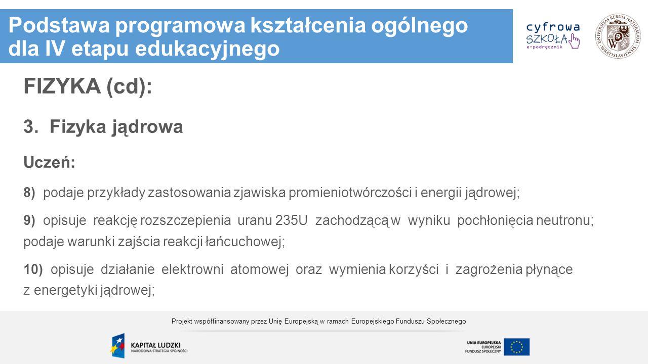 Ćwiczenie aktywizujące Projekt współfinansowany przez Unię Europejską w ramach Europejskiego Funduszu Społecznego