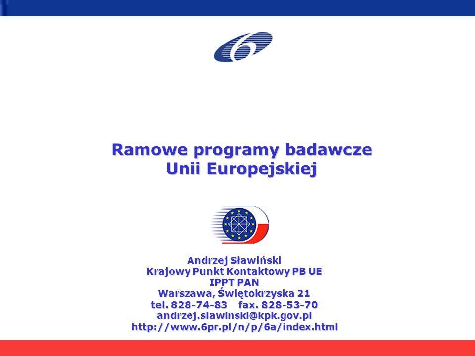 Ramowe programy badawcze Unii Europejskiej Andrzej Sławiński Krajowy Punkt Kontaktowy PB UE IPPT PAN Warszawa, Świętokrzyska 21 tel. 828-74-83 fax. 82