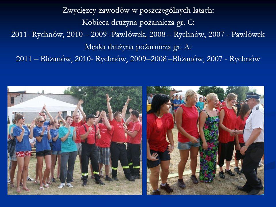 Zwycięzcy zawodów w poszczególnych latach: Kobieca drużyna pożarnicza gr. C: 2011- Rychnów, 2010 – 2009 -Pawłówek, 2008 – Rychnów, 2007 - Pawłówek Męs