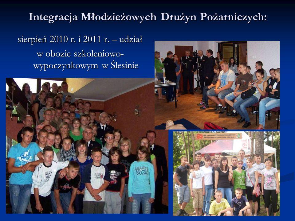 Integracja Młodzieżowych Drużyn Pożarniczych: sierpień 2010 r. i 2011 r. – udział w obozie szkoleniowo- wypoczynkowym w Ślesinie