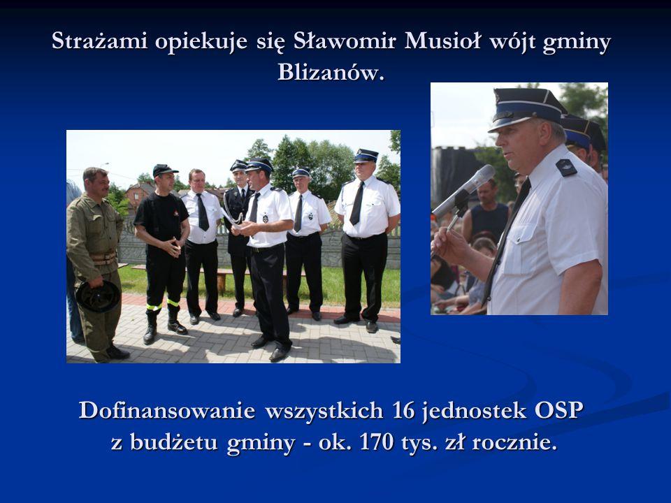 Strażami opiekuje się Sławomir Musioł wójt gminy Blizanów. Dofinansowanie wszystkich 16 jednostek OSP z budżetu gminy - ok. 170 tys. zł rocznie. z bud