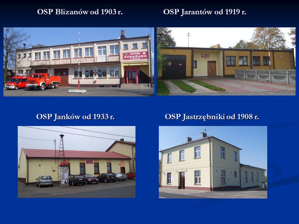 OSP Blizanów od 1903 r. OSP Jarantów od 1919 r. OSP Janków od 1933 r. OSP Jastrzębniki od 1908 r.