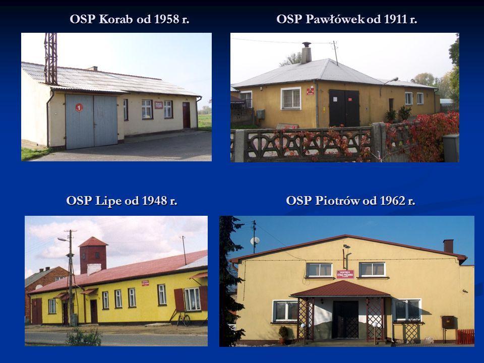 OSP Korab od 1958 r. OSP Pawłówek od 1911 r. OSP Lipe od 1948 r. OSP Piotrów od 1962 r.