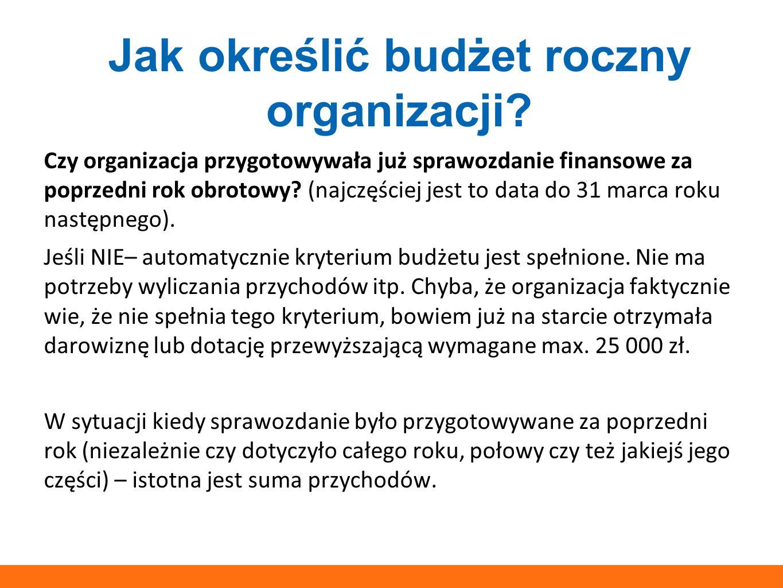 Jak określić budżet roczny organizacji? Czy organizacja przygotowywała już sprawozdanie finansowe za poprzedni rok obrotowy? (najczęściej jest to data