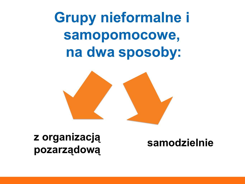 Grupy nieformalne i samopomocowe, na dwa sposoby: z organizacją pozarządową samodzielnie