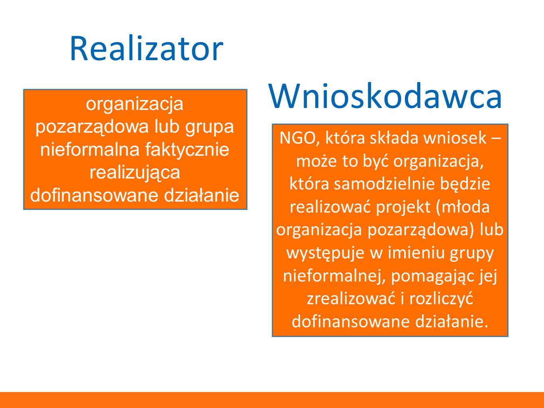 Realizator Wnioskodawca organizacja pozarządowa lub grupa nieformalna faktycznie realizująca dofinansowane działanie NGO, która składa wniosek – może