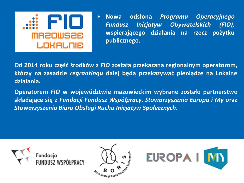 Nowa odsłona Programu Operacyjnego Fundusz Inicjatyw Obywatelskich (FIO), wspierającego działania na rzecz pożytku publicznego. Od 2014 roku część śro