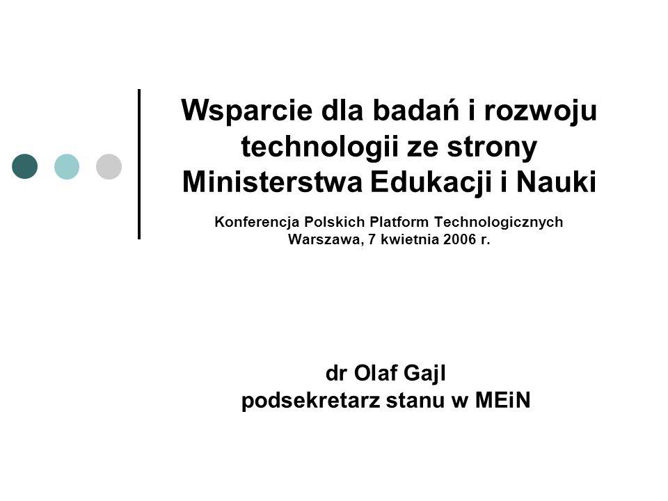 Wsparcie dla badań i rozwoju technologii ze strony Ministerstwa Edukacji i Nauki Konferencja Polskich Platform Technologicznych Warszawa, 7 kwietnia 2006 r.