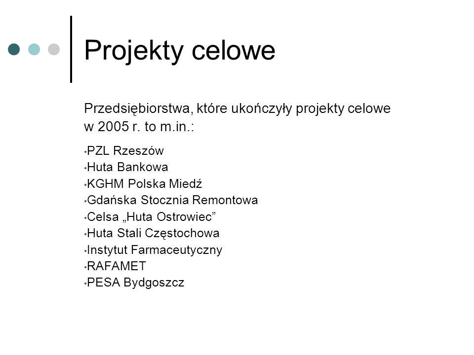Projekty celowe Przedsiębiorstwa, które ukończyły projekty celowe w 2005 r.