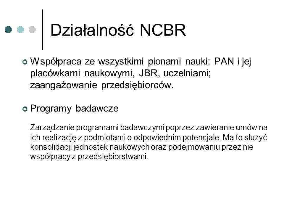 Działalność NCBR Współpraca ze wszystkimi pionami nauki: PAN i jej placówkami naukowymi, JBR, uczelniami; zaangażowanie przedsiębiorców.