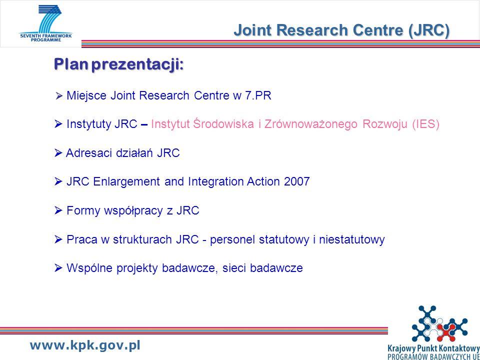 www.kpk.gov.pl Plan prezentacji: Plan prezentacji:  Miejsce Joint Research Centre w 7.PR  Instytuty JRC – Instytut Środowiska i Zrównoważonego Rozwoju (IES)  Adresaci działań JRC  JRC Enlargement and Integration Action 2007  Formy współpracy z JRC  Praca w strukturach JRC - personel statutowy i niestatutowy  Wspólne projekty badawcze, sieci badawcze Joint Research Centre (JRC)