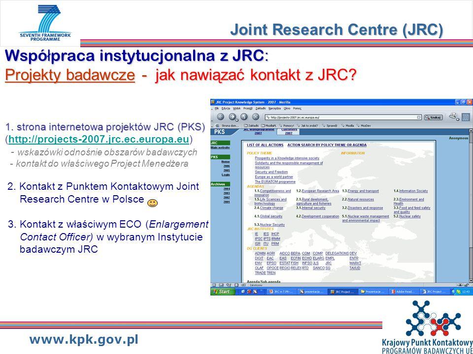 www.kpk.gov.pl Wspó ł praca instytucjonalna z JRC : Projekty badawcze - jak nawiązać kontakt z JRC.