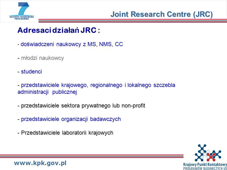 www.kpk.gov.pl : doświadczeni naukowcy z MS, NMS, CC - młodzi naukowcy - studenci - przedstawiciele krajowego, regionalnego i lokalnego szczebla administracji publicznej - przedstawiciele sektora prywatnego lub non-profit - przedstawiciele organizacji badawczych - Przedstawiciele laboratorii krajowych Adresaci dzia ł a ń JRC : - doświadczeni naukowcy z MS, NMS, CC - młodzi naukowcy - studenci - przedstawiciele krajowego, regionalnego i lokalnego szczebla administracji publicznej - przedstawiciele sektora prywatnego lub non-profit - przedstawiciele organizacji badawczych - Przedstawiciele laboratorii krajowych Joint Research Centre (JRC)