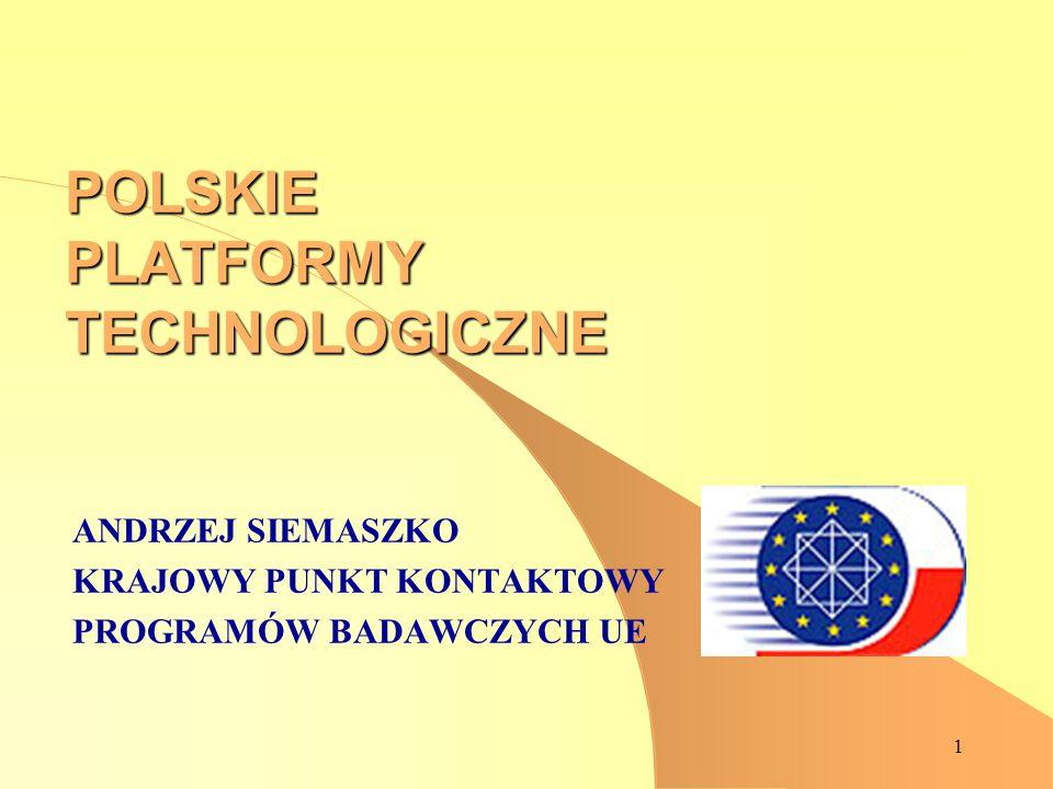 1 POLSKIE PLATFORMY TECHNOLOGICZNE ANDRZEJ SIEMASZKO KRAJOWY PUNKT KONTAKTOWY PROGRAMÓW BADAWCZYCH UE