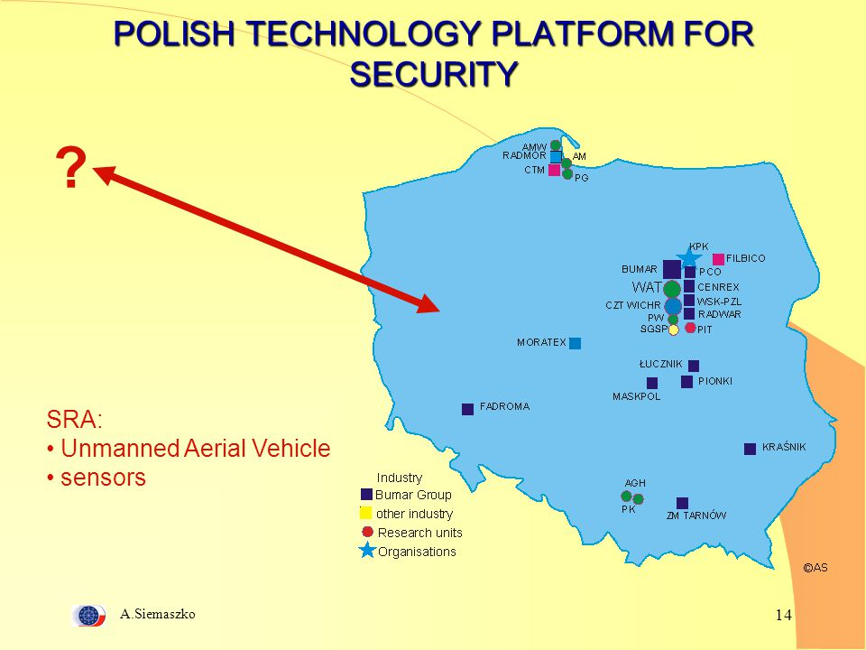 A.Siemaszko 14 POLISH TECHNOLOGY PLATFORM FOR SECURITY ? SRA: Unmanned Aerial Vehicle sensors