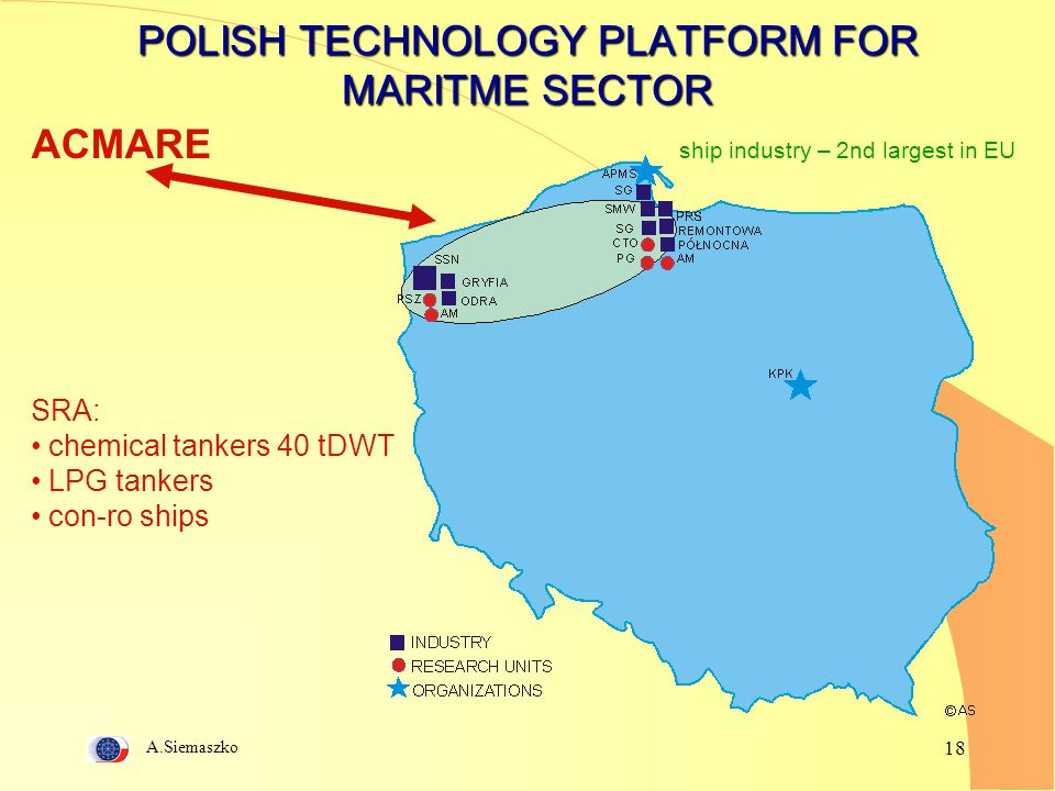 A.Siemaszko 18 POLISH TECHNOLOGY PLATFORM FOR MARITME SECTOR ACMARE SRA: chemical tankers 40 tDWT LPG tankers con-ro ships ship industry – 2nd largest