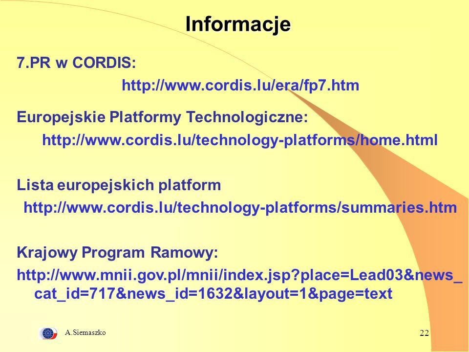 A.Siemaszko 22Informacje 7.PR w CORDIS: http://www.cordis.lu/era/fp7.htm Europejskie Platformy Technologiczne: http://www.cordis.lu/technology-platforms/home.html Lista europejskich platform http://www.cordis.lu/technology-platforms/summaries.htm Krajowy Program Ramowy: http://www.mnii.gov.pl/mnii/index.jsp?place=Lead03&news_ cat_id=717&news_id=1632&layout=1&page=text