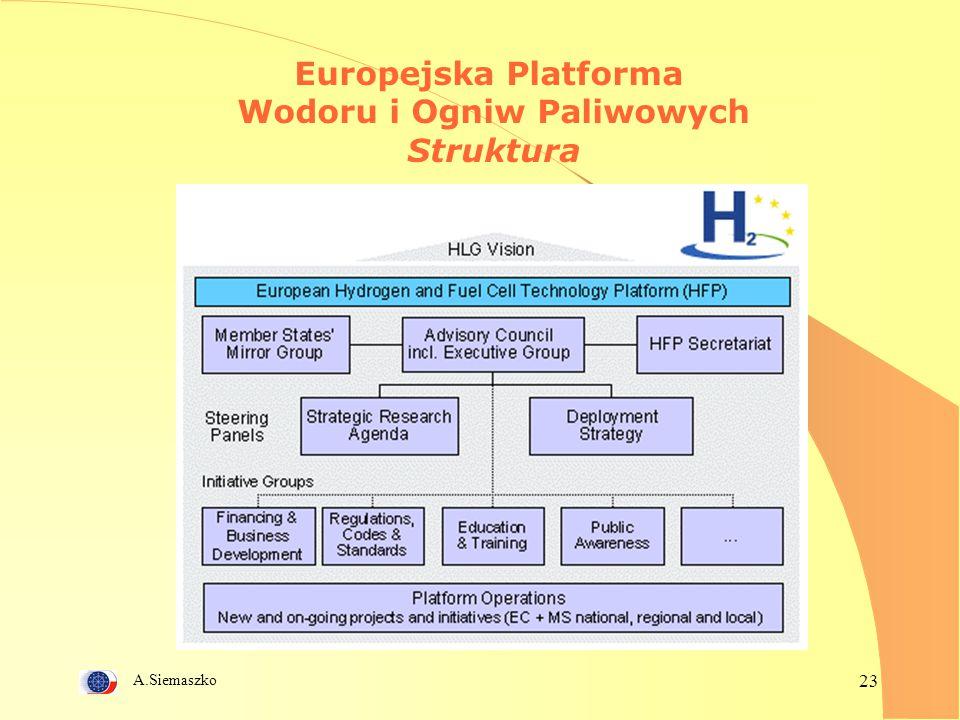A.Siemaszko 23 Europejska Platforma Wodoru i Ogniw Paliwowych Struktura