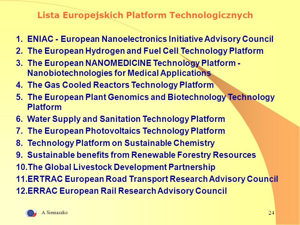 A.Siemaszko 24 Lista Europejskich Platform Technologicznych 1.ENIAC - European Nanoelectronics Initiative Advisory Council 2.The European Hydrogen and