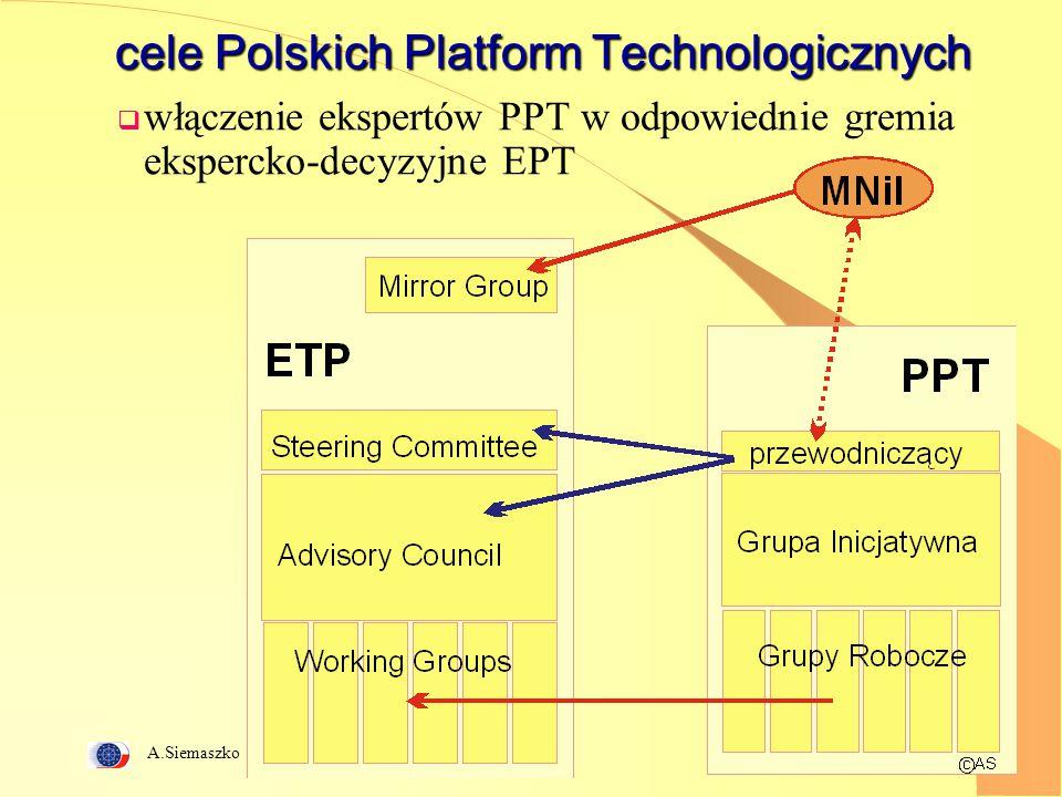 A.Siemaszko 3 cele Polskich Platform Technologicznych  włączenie ekspertów PPT w odpowiednie gremia ekspercko-decyzyjne EPT